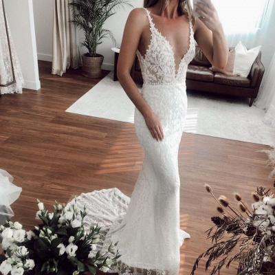 Straps Sweetheart Applique  Fitted Tulle Detachable Skirt Mermaid Wedding Dresses_2