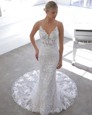 Simple Style Spaghetti Strap V Neck Applique Lace Sheath Wedding Dresses With Detachable Skirt_3