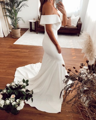 Unqiue Off The Shoulder Sweetheart Fit And Falre Mermaid Wedding Dresses_2