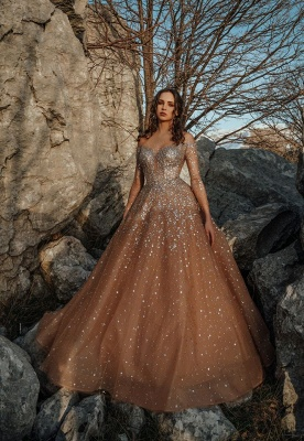 Champagne Jewel Long Sleeve Sequin Crystal Ball Gown Prom Dresses_2