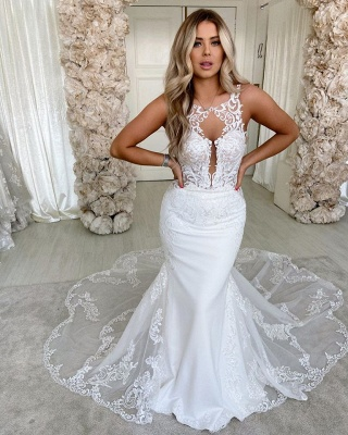 Straps Jewel Backless Applique Fitted  Mermaid Wedding Dresses_2