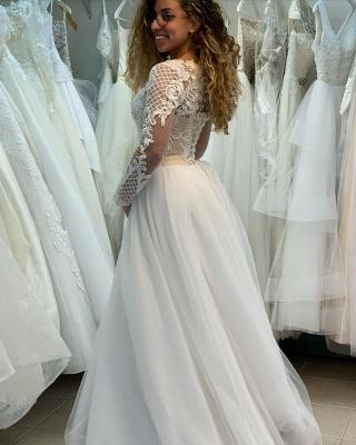 Elegant Bateau Long Sleeve Full Back Applique Pleated A Line Wedding Dresses_3
