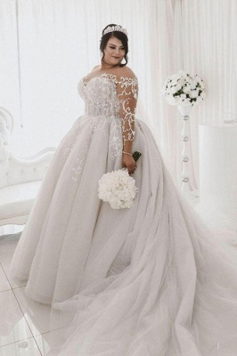 Plus Size Long Sleeve Applique Ball Gown Wedding Dresses | Pearls Puffy Wedding Gown_1