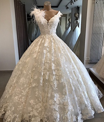 Appliques V-neck Alluring Feathers Ball-Gown Wedding Dresses_1
