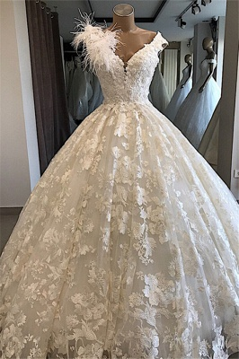 Appliques V-neck Alluring Feathers Ball-Gown Wedding Dresses_3
