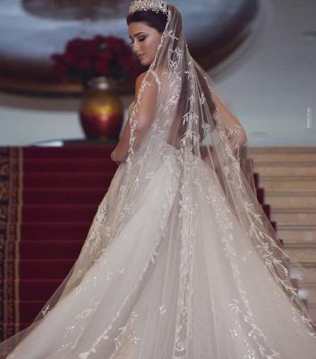 Sexy Straps V Neck Floral Sheath Wedding Dresses | Backless Detachable Train Bridal Gown_4