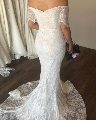 Sweetheart off The Shoulder Short Sleeve Lace Wedding Dresses | Mermaid Wedding Gown_2