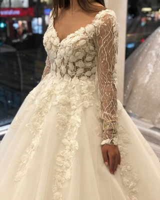 Gorgeous Sweetheart V Back Long Sleeve Applique Floral Ball Gown Wedding Dresses_3