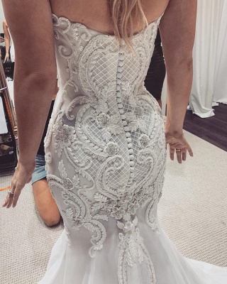 Sexy Sweetheart Backless Applique Lace Fitted Mermaid Wedding Dresses_2