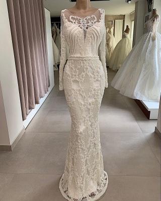 Mermaid Jewel Appliques Attractive Long-Sleeves Wedding Dresses_3