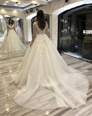 Gorgeous Sweetheart V Back Long Sleeve Applique Floral Ball Gown Wedding Dresses_2