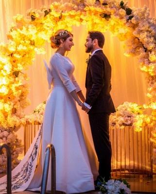 Royal Jewel Long Sleeve A Line Wedding Dresses | Sash Bow Wedding Gown_3