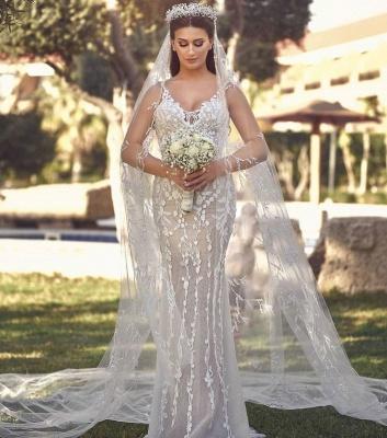 Sexy Straps V Neck Floral Sheath Wedding Dresses | Backless Detachable Train Bridal Gown_2