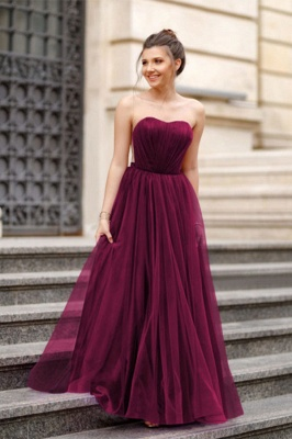 Off-the-shoulder Mermaid Burgundy Backless Prom Dress_6