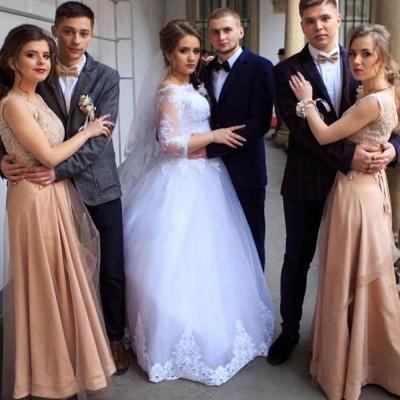 Bateau Long Sleeve Applique Sequin Puffy Ball Gown Wedding Dresses_2
