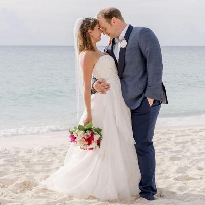 Sexy Sweetheart Applique A Line Wedding Dresses |Floor Length Beach Wedding Dress_2