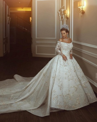 Luxury Off The Shoulder Long Sleeve Sequin Puffy Ball Gown Wedding Dresses | Sequin Floral Bridal Gown_4