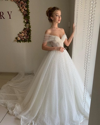 Chic Off The Shoulder Sweetheart Sequin A Line Wedding Dresses | Tulle Bridal Gown_4