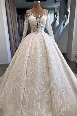 Ball-Gown Scoop Elegant Long-Sleeves Wedding Dresses_1