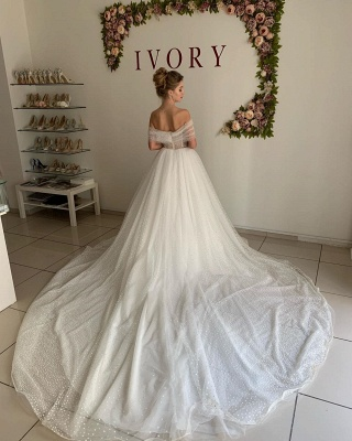Chic Off The Shoulder Sweetheart Sequin A Line Wedding Dresses | Tulle Bridal Gown_2