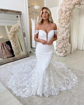 Alluring Off The Shoulder Sweetheart Lace Fit And Flare Mermaid  Wedding Dresses_2