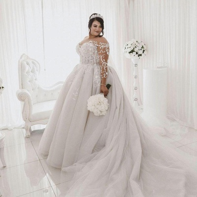 Plus Size Long Sleeve Applique Ball Gown Wedding Dresses | Pearls Puffy Wedding Gown_4