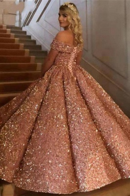 Sparkly Sweetheart Off The Shoulder Ball Gown Wedding Dresses | Sequin Puffy Bridal Gown_8