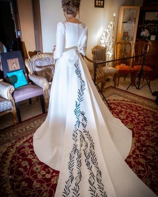 Royal Jewel Long Sleeve A Line Wedding Dresses | Sash Bow Wedding Gown_4