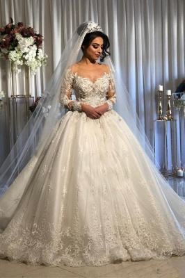 Jewel Lace Ball Gown Wedding Dresses with Sleeves | Timeless Puffy Bridal Gown_1