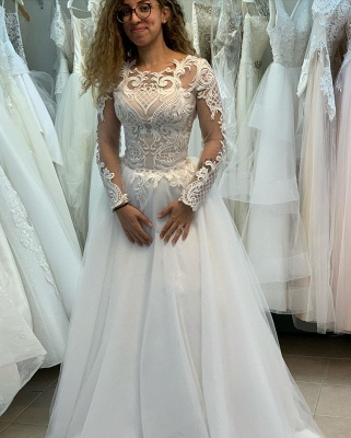 Elegant Bateau Long Sleeve Full Back Applique Pleated A Line Wedding Dresses_2