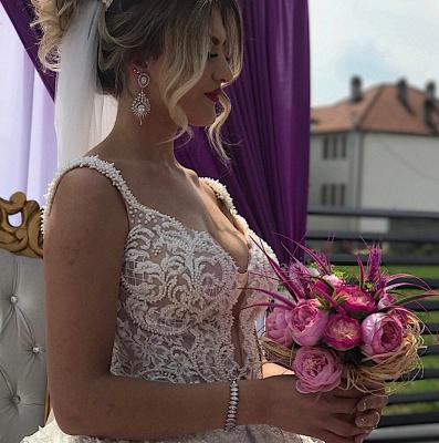 V-neck Straps Appliques A-line Sleeveless Fascinating Wedding Dresses_2