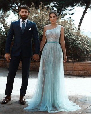 One Shoulder Sequin Side Slit Sash A Line Prom Dresses | Floor Length Evening Dresses_3
