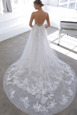 Simple Style Spaghetti Strap V Neck Applique Lace Sheath Wedding Dresses With Detachable Skirt_2