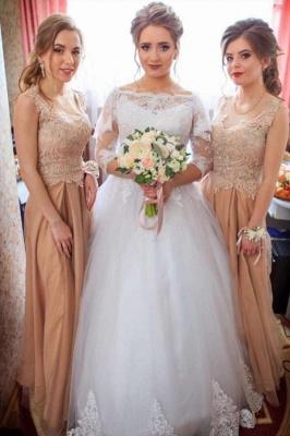 Bateau Long Sleeve Applique Sequin Puffy Ball Gown Wedding Dresses_1
