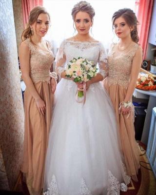 Bateau Long Sleeve Applique Sequin Puffy Ball Gown Wedding Dresses_3