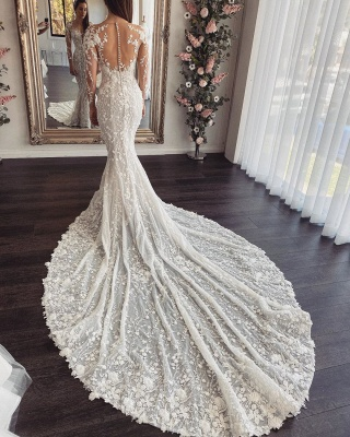 Elegant Jewel Long Sleeve Sheer Back Lace Floral Fitted Mermaid Wedding Dresses_2