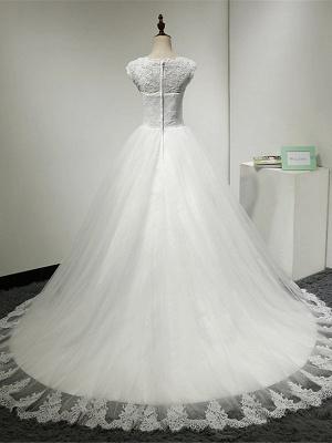 Cap Sleeve Applique Tulle A Line Wedding Dresses_2