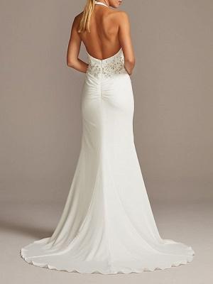 Halter V Neck Beading Fitted Sheath Wedding Dresses | Backless Bridal Gown_2