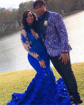 Halter Royal Blue Prom Dresses Lace Mermaid Evening Gowns Long Sleeves