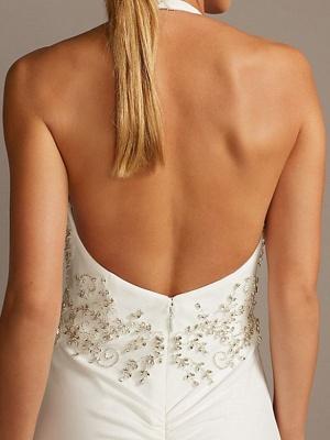 Halter V Neck Beading Fitted Sheath Wedding Dresses | Backless Bridal Gown_3