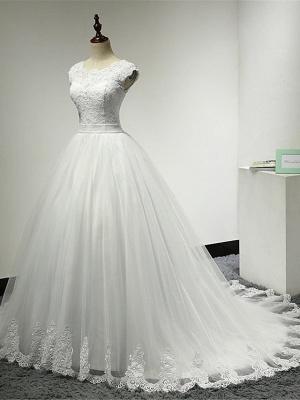 Cap Sleeve Applique Tulle A Line Wedding Dresses_3