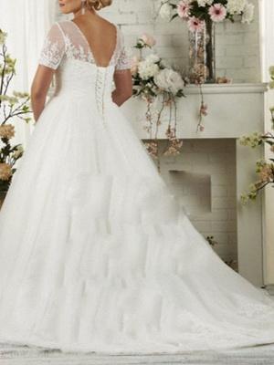 Plus Size Jewel Applique A Line Wedding Dresses | Short Sleeve Bridal Gown_2