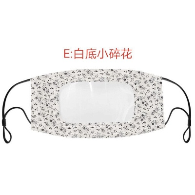 50 PCS Cotton Printed Unisex Adult Mouth Face Mask With Clear Window Visible_3