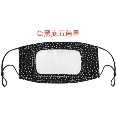 50 PCS Cotton Printed Unisex Adult Mouth Face Mask With Clear Window Visible_8