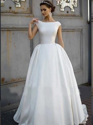 Elegant Jewel Cap Sleeve Satin A Line Wedding Dresses_2
