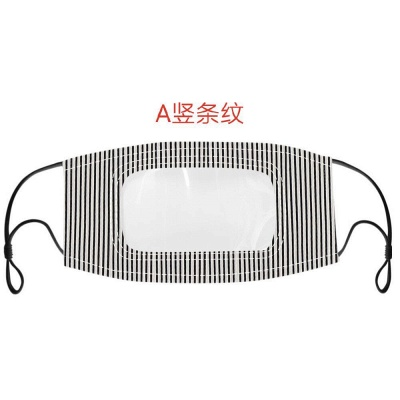 50 PCS Cotton Printed Unisex Adult Mouth Face Mask With Clear Window Visible_4