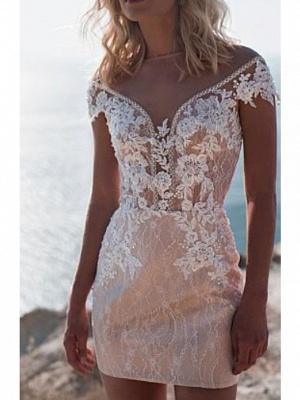 Off The Shoulder Applique Sheath Wedding Dresses With Detachable Skirt_2