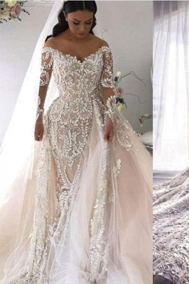 Lace V Neck Overskirt Mermaid Wedding Dresses | Long Sleeve Bridal Gown_1