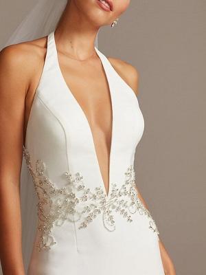 Halter V Neck Beading Fitted Sheath Wedding Dresses | Backless Bridal Gown_4