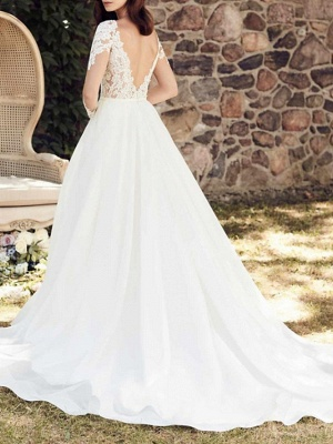Long Sleeve Lace A Line Wedding Dresses | V Neck Bridal Gown_3